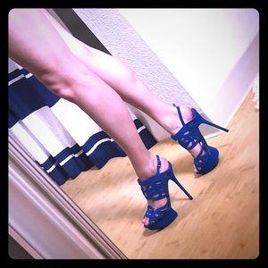 Blue strappy Bebe platform stiletto heels
